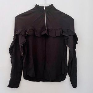 & Other Stories black ruffle front mockneck top